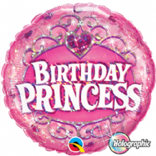 Birthday Princess Holographic Foil Helium Balloon